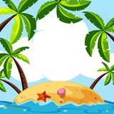 Background scene with coconut trees on island. Illustration royalty free illustration
