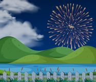 Background scene with firework in sky. Illustration Royalty Free Stock Photos