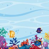 Background scene with fish and coral underwater. Illustration Royalty Free Stock Photo