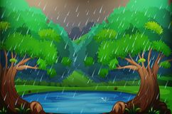 Background scene with forest in the rain. Illustration stock illustration