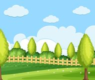 Background scene with green field. Illustration Stock Photography