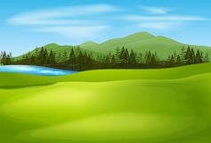 Background scene with green field. Illustration Royalty Free Stock Photos