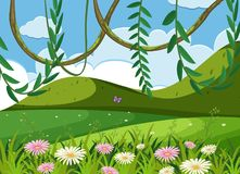 Background scene with green field and mountains. Illustration Royalty Free Stock Photos