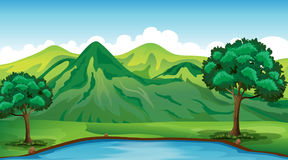 Background scene with green mountain and pond Stock Image