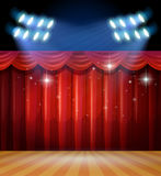Background scene with light and red curtains on stage Stock Photo