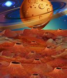 Background scene with planets and moon surface Royalty Free Stock Photography