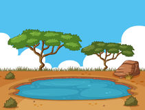 Background scene with pond in the field Royalty Free Stock Photo