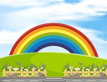 Background scene with rainbow in the park. Illustration royalty free illustration