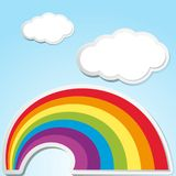 Background scene with rainbow in the sky. Illustration royalty free illustration