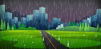 Background scene with raining in the city. Illustration stock illustration