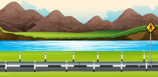 Background scene with river along the road Royalty Free Stock Photo