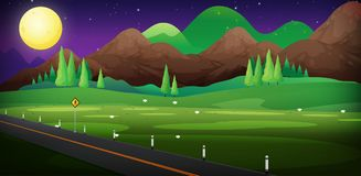 Background scene with road and field at night. Illustration Royalty Free Stock Image