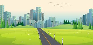 Background scene with road to city Royalty Free Stock Photo