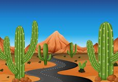 Background scene with road in the western land. Illustration Royalty Free Stock Images