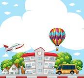 Background scene with school in neighborhood. Illustration Royalty Free Stock Photos