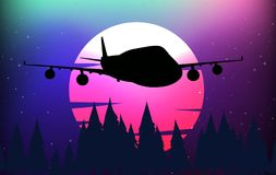 Background scene with silhouette airplane. Illustration vector illustration