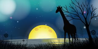 Background scene with silhouette giraffe at night. Illustration stock illustration