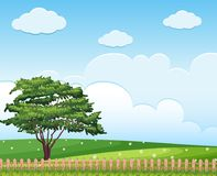 Background scene with tree in the field. Illustration Stock Photos