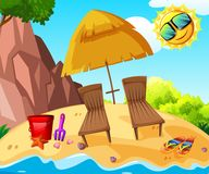 Background scene with two chairs by the seaside. Illustration stock illustration