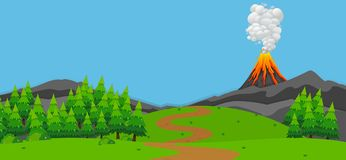 Background scene with volcano and forest. Illustration Royalty Free Stock Photos