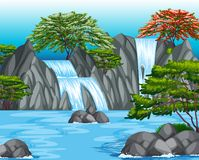 Background scene with waterfall and trees Royalty Free Stock Photos