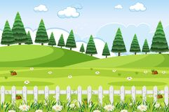 Free Background Scene With Green Grass And Fences In The Park Stock Photography - 184088502