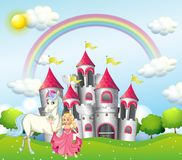Background Scene With Princess And Unicorn At Pink Castle Stock Photos