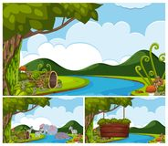 Background scenes with animals by the river Royalty Free Stock Images