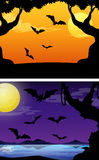 Background scenes with bats flying at twilight Royalty Free Stock Images