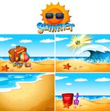Background scenes with beach and ocean. Illustration Royalty Free Stock Photography