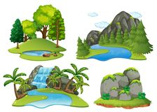 Background scenes with forest and waterfall Stock Photo