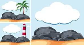 Background scenes with lighthouse and rocks. Illustration Royalty Free Stock Photography