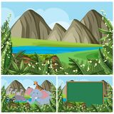 Background scenes with mountain and animals. Illustration stock illustration