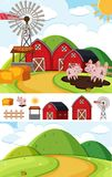 Background scenes with pigs in mud. Illustration Royalty Free Stock Images