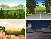 Background scenes with trees in mountain. Illustration Royalty Free Stock Photos