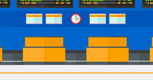 Background of schedule board in airport. Background of schedule board in airport vector flat design illustration. Horizontal layout Stock Photo
