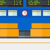 Background of schedule board in airport. Background of schedule board in airport vector flat design illustration. Square layout Stock Photos