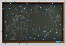 Background the school Board and contour of the chalk image of a boy and girl in the rain. Boy and girl under an umbrella on the background of the school board Stock Image