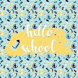 Background with school sealess pattern with hand drawn words hello school. Vector background with school sealess pattern with hand drawn words hello school Stock Images