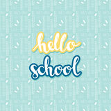 Background with school seamless pattern with hand drawn words hello school. Vector background with school seamless pattern with hand drawn words hello school Stock Photos