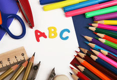 Background with school stationery Stock Photography