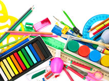 Background of school supplies. Stock Photo