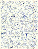 Background With School Symbols On Copy-Book Page. Vector vertical background with children and school objects drawed on copybook lined page Stock Photo