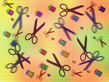 Background scissors and reels Royalty Free Stock Images