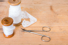 Background -scissors and thread Royalty Free Stock Photo