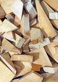 Background from scraps sawn wooden bars Stock Photo