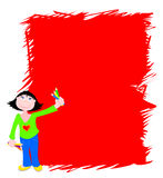 Background scrawled. Funny  illustration depicting a young girl while holding the pencil with which he has designed a colorful hatching Royalty Free Stock Photo