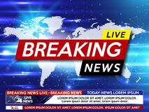 Background screen saver on breaking news. Breaking news live on world map on the blue background