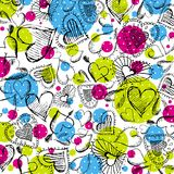 Background with scribble hearts,  Stock Photography