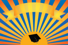 Background with scroll banner. Vector background with scroll banner over sun with academic hat Royalty Free Stock Images